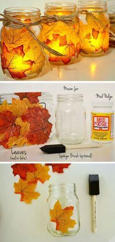 DIY Autumn Leaf, Mason Jar Candle Holder