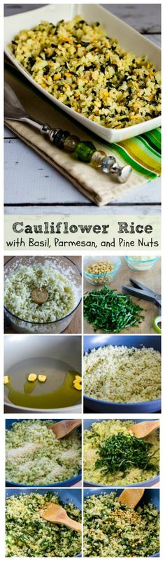 If you love the flavor of fresh basil, you'll love this easy-to-make Cauiflower Rice with Basil, Parmesan, and Pine Nuts.  This is a perfect #MeatlessMonday dish.  #LowCarb #GlutenFree [from KalynsKitchen.com]