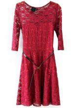Oxblood+Half+Sleeve+Blet+Lace+Skater+Dress+US$30.81