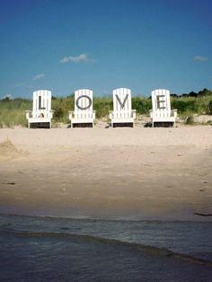Virginia is for Lovers! Giant LOVE chairs by the Chesapeake beach at Kiptopeke State Park near Cape Charles, VA.  #publicart
