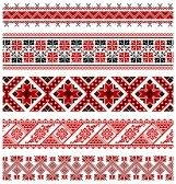 illustrations of ukrainian embroidery ornaments, patterns, frames and borders. stock photography