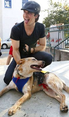12 Moments Of Ian Somerhalder Loving Dogs.