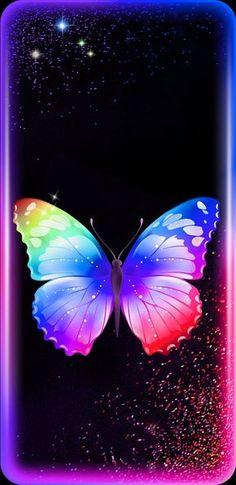 By Artist Unknown. Neon Wallpaper, Butterfly Wallpaper, Cute Wallpaper Backgrounds, Butterfly Art, Mobile Wallpaper, Cute Wallpapers, Iphone Wallpaper, Paper Butterflies, Beautiful Butterflies