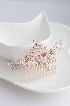 Rose Gold Leaf Bridal Hair Comb Rhinestone Crystal Leaves Rhinestone Wedding Hair Accessory Comb NEVE CLASSIC (79.00 USD) by LuluSplendor