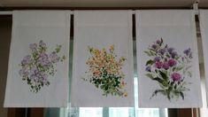 조각커튼~~^^ #천아트 : 네이버 블로그 Art Floral, Fabric Painting, Fabric Art, Embroidery Applique, Embroidery Designs, Diy And Crafts, Shabby, Watercolor, Sewing