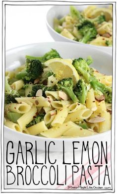 One pot, 20 minutes to make, gluten-free, vegan, Garlic Lemon Broccoli Pasta! This super quick and easy meal is perfect for a busy weeknight or to carb up after a long run. Lemon Garlic Pasta, Garlic Broccoli, Broccoli Recipes, Pasta Recipes, Cooking Recipes, Broccoli Rob Recipe, Cooking Tips, Noodle Recipes, Vegan Dinner Recipes