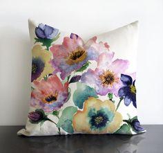 """SALE - 18""""x18"""" Watercolour Bouquet original design Pillow cover"""