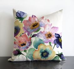 "Watercolour Bouquet original design in mauve colours, printed on linen/cotton Pillow Cover with invisible zipper. Available16""sq,18""sq,20""sq..."