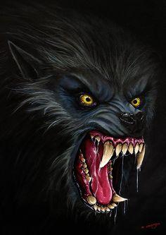 American Werewolf in London Horror art Wolf by MDarksideStudios Werewolf Tattoo, Werewolf Art, Arte Horror, Horror Art, Fantasy Wolf, Fantasy Art, Fantasy Creatures, Mythical Creatures, Wolf Hybrid