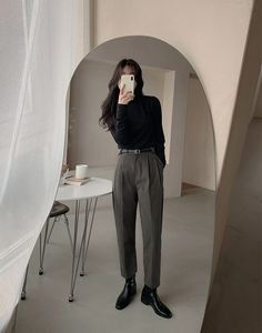 slowand : た だ , Teen Fashion Outfits, Mode Outfits, Retro Outfits, Cute Casual Outfits, Stylish Outfits, Vintage Outfits, Mode Ulzzang, Mode Ootd, Mode Kpop