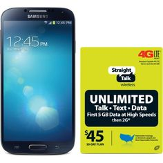 Straight Talk Samsung Galaxy S4 4G LTE Android Refurbished Prepaid Smartphone w/ Bonus $45 30-Day Plan buy at cheap offer price