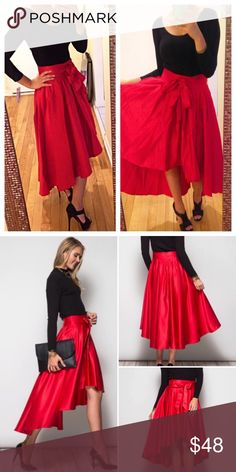 """❣️BACK IN❣️Beautiful red full high low swing skirt Beyond gorgeous skirt! Definitely kept one for myself  waist is 13"""" 14"""" 15"""" S M L. Bow can be tied in front or back. Perfect for the Christmas holiday! Ships 11/11 Skirts High Low"""