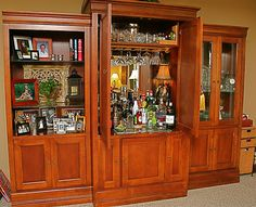 Probably One Of The Better Repurposed Entertainment Centers To Bars That I Have Seen