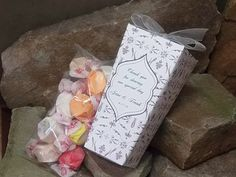 Gourmet Taffy Favors - individually wrapped taffy, choice of flavors, freshness sealed inner packaging.   http://www.PrettyPartyPapers.com