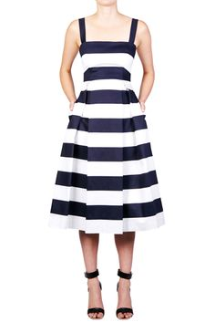 Navy Stripe Cotton Day Dress | NICHOLAS | NAVY STRIPE midi full skirt