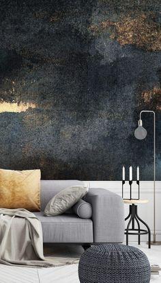Rain with Sun Wallpaper Mural by Wallsauce - - Accent Wallpaper, Room Wallpaper, Living Room Dark Wallpaper, Dark Living Rooms, Living Room Decor, Bedroom Murals, Wall Murals, Industrial Wallpaper, Cozy House
