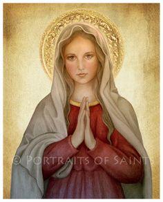 Mary Mother of God 8x10 Catholic Art Print by PortraitsofSaints, $12.00