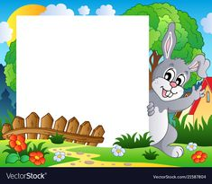 Frame with Easter bunny theme 2 stock vector Boarder Designs, Frame Border Design, Kids Background, Cartoon Background, Teacher Classroom Decorations, Back To School Art, Boarders And Frames, 2. Stock, School Frame