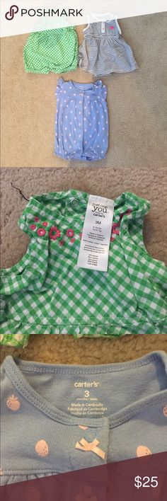 3 baby girl summer outfits All in excellent used condition. Item shown on pic 4 says 6 months but fits like the 2 others that are 3 months so listed as such. All from carters. Pet free smoke free home washed using baby detergent. 2 rompers and 1 dress/onesie. Carter's One Pieces