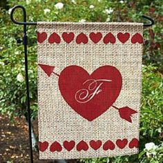 Valentine Heart Arrow Initial Decorative Burlap Garden House Flag Valentines Day