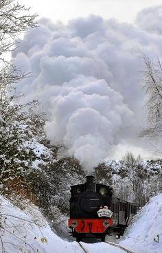 Steam train in winter