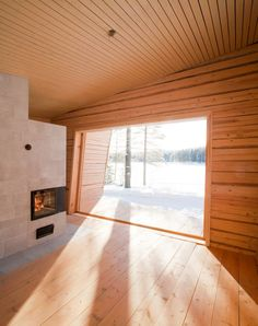 Toni Yli-Suvanto Architects designs Arctic Sauna Pavilion with tilted walls Wooden Shutters, House, Home, Built Environment, Large Windows, Living Spaces, Sauna Design, Spacious, Built In Storage