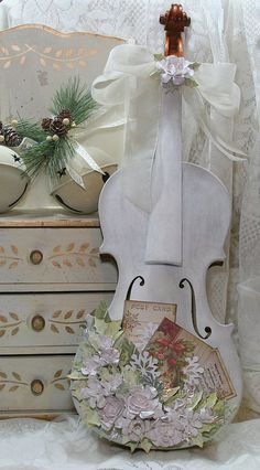 Shabby Chic Altered Violin by Polly's Pages. If I could find a $20 old violin, I would absolutely do this!!! So beautiful!