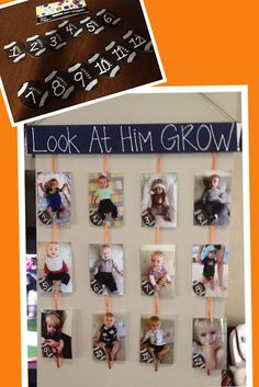 I love this idea, except i would usea picture from each month for my youngest boys and then after they are a year, use a pic from each birthday, and do the same for my 4 year old girl!!