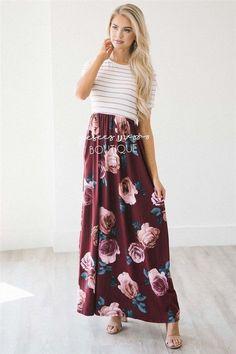 The Dorris Striped Modest Midi Dress - NeeSee's Dresses Modest Dresses, Modest Outfits, Pretty Dresses, Dress Outfits, Cute Outfits, Fashion Outfits, Modest Clothing, Modest Fashion, Fall Fashion