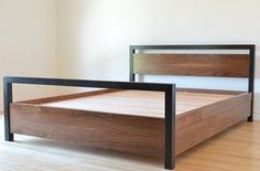 Walnut captains bed by tealandgold on Etsy Iron Furniture, Steel Furniture, Home Decor Furniture, Pallet Furniture, Furniture Design, Sofa Design, Steel Bed Design, Rustic Industrial Furniture, Steel Bed Frame
