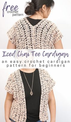 Crochet Patterns Blusas This easy crochet cardigan pattern makes a great first crochet sweater project! Crochet it from two rectangles, no seaming or shaping required. Crochet Cardigan Pattern, Crochet Jacket, Crochet Patterns, Sweater Patterns, Crochet Vests, Crochet Shrugs, Sewing Patterns, Vintage Patterns, Easy Crochet