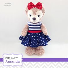 "Sailor Dress for 17"" Shellie May Bear, 16-17"" Plush Animals"