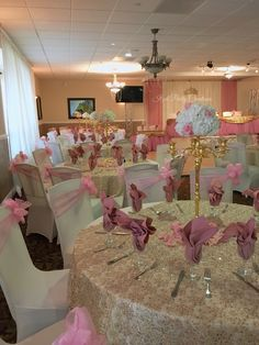 Quinceaera Main Table decor dusty rose and gold tutu ...