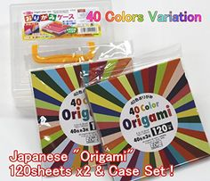 Japanese Origami Paper / 5.9 inch square / Total 40 Variation Colors - 240 Sheets & Japanese Origami Folding Paper Case Box Value Set (With Our Shop Original Product Description) * You can get additional details at the image link.