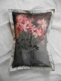 Image of Floral Painting Pillow - Periwinkle (free shipping)