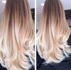 Long, straight, blonde balayage