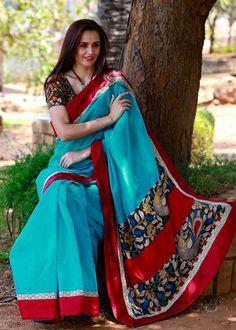 Blue Chanderi with hand kalamkari pallu and red cotton silk border