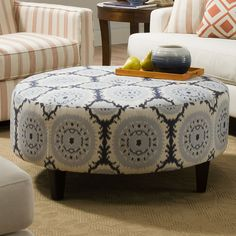 Sunbrella Anniston Asia Denim Round Cocktail Ottoman