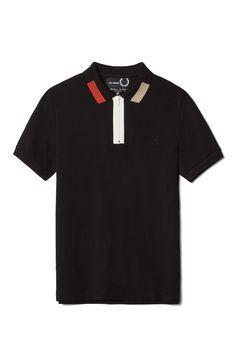 b8bd47f19be83a Fred Perry - Raf Simons Colour Block Pique Shirt Black