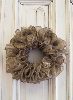 Burlap Ribbon Wreath. I wonder if I could make this?