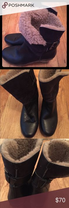 Warm Ankle Boots Black leather ankle boots fully lined with wool fleece. Can be worn unfolded or folded for a different look. Adjustable side buckle. Worn 3-4 times. UGG Shoes Winter & Rain Boots