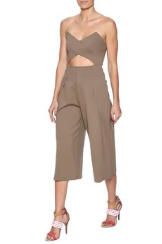 Strapless jumpsuit with gaucho pant legs, midriff cut out and a hidden back zipper closure.   Gaucho Jumpsuit by Cefian. Clothing - Jumpsuits & Rompers - Jumpsuits Maryland