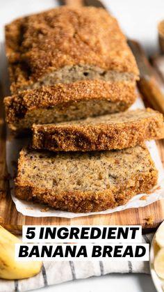 Vegan Crockpot Recipes, Easy Bread Recipes, Banana Bread Recipes, Vegan Breakfast Recipes, Gluten Free Vegan Banana Bread, Vegan Foods, Vegan Snacks, Vegan Dishes, Healthy Desserts