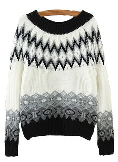 3b854f96626 SHEIN offers Black Long Sleeve Geometric Print Crop Sweater   more to fit  your fashionable needs.