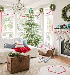Pretty Christmas Living Rooms Don't stop at the Christmas tree -- extend your Christmas decorations through the whole living room. Christmas Time Is Here, Noel Christmas, Merry Little Christmas, White Christmas, Beautiful Christmas, Rustic Christmas, Cottage Christmas, Elegant Christmas, Simple Christmas
