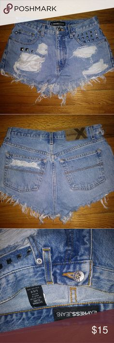 Distressed jean shorts Distressed jeans shorts with studs. 5/6 regular  Express Express Shorts Jean Shorts