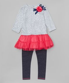 Look what I found on #zulily! Youngland Gray & Fuchsia Dot Tunic & Leggings - Toddler & Girls by Youngland #zulilyfinds