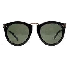 Karen Walker Harvest Sunglasses | Black ($250) ❤ liked on Polyvore featuring accessories, eyewear, sunglasses, glasses, shades, sunnies, karen walker glasses, black round sunglasses, round frame glasses and black glasses