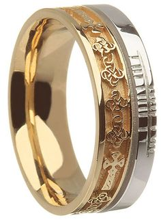 14k Two Tone Gold Celtic Cross with Ogham Script Wedding Ring