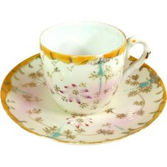 Demitasse Cup & Saucer Raised Enamel Designs Victorian Demitasse Set
